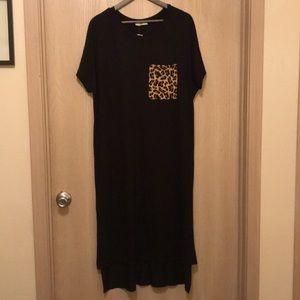 Entro Midi Leopard Print Pocket Dress
